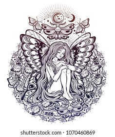 Moth girl butterfly with long wavy hair falling down with unique mandala. Nude modest moth. Princess of the forest. Magic nymph tattoo, character from fairy tales. Isolated vector illustration.