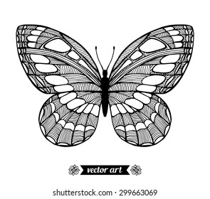 Moth, wildlife insect. Amazing fly butterfly. Vector. Creative bohemia concept for invitations, cards, tickets, branding, logo, label. Black and white