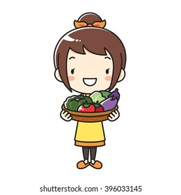 mother apron vegetable