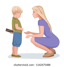 mother asks her son to give phone, parent talking to child, conversation about behavior. vector illustration