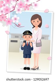 Mother attending her son's school ceremony at Cherry blossom season. Gradients, Gradation mesh, clipping mask is used. EPS10