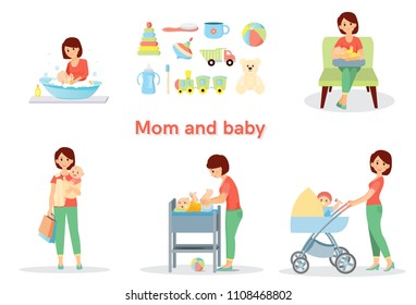 Mother and baby big set. Isolated on white background. Cartoon style. Vector illustration