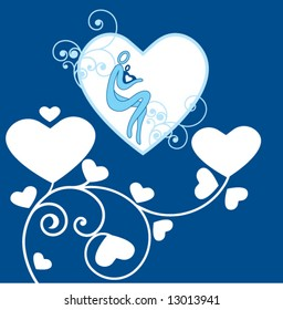 mother and baby blue with hearts