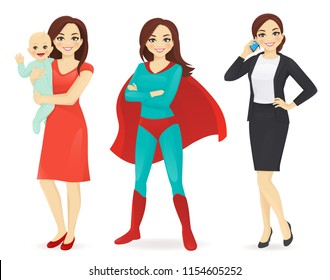 Mother with baby, businesswoman and woman in superhero costume vector illustration