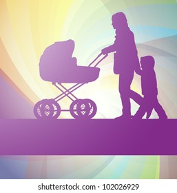 Mother with baby carriage and kid vector background