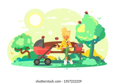 Mother with baby carriage in park vector illustration. Young woman sitting on bench with paper cup coffee and reading book. Kid sleeping in pram flat style concept. Time for walking on fresh air