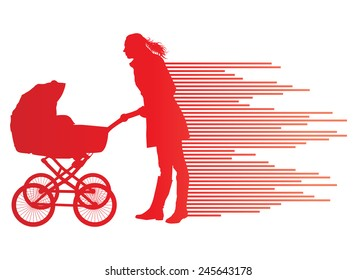Mother with baby carriage vector background concept made of stripes