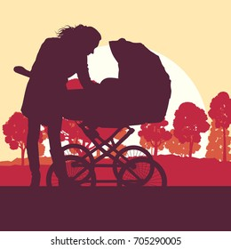 Mother with baby cart in park walking vector background