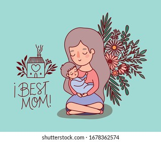 Mother and baby cartoon with flowers and leaves design, happy mothers day love relationship decoration celebration greeting and invitation theme Vector illustration
