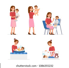 Mother and baby collection. Baby feeding, playing, bathing, sleeping. Flat style vector illustration isolated on white background.