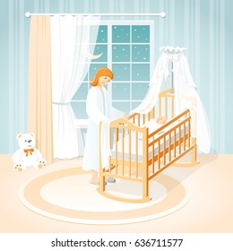Mother and baby in the cot. A children's room. Night.