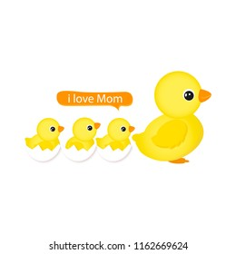Mother and baby duck. Vector illustration.