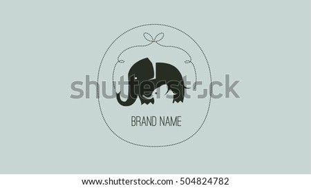 mother baby elephants vector logo design stock vector royalty free