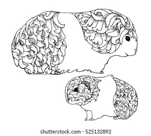 Mother and baby guinea pig, zentangle page for adult colouring book