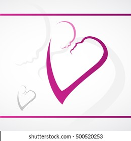 Mother and Baby, Heart, Logo Design