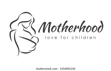 Mother with a baby in her hands and baby sling. Stylized outline symbol. Motherhood, love, mother care, woman, child. Silhouette, icon, logo, sign. Vector illustration