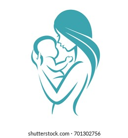 mother and baby icon, stylized vector symbol