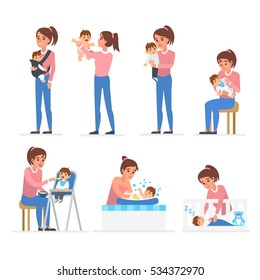 Mother and baby illustration collection. Baby feeding, playing, bathing, sleeping. Vector illustrations.