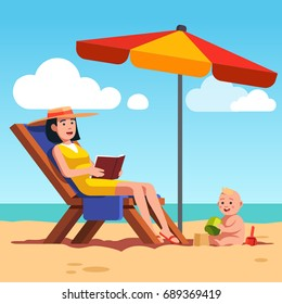 Mother with baby lying on lounger at ocean or sea beach. Beautiful woman relaxing reading book under sunshade parasol. Family summer holiday. Toddler boy playing sand game. Flat vector illustration.