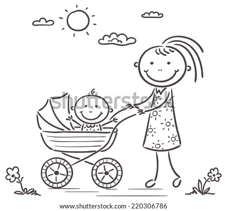 Mother Baby On Walk Black White Stock Vector Royalty Free