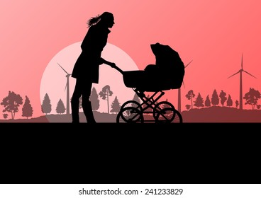 Mother with baby pram outdoor vector ecology background concept