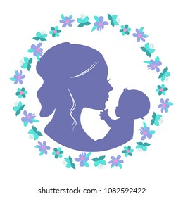 Mother and baby silhouette in the floral wreath, vector illustration. Can be used for mother's day and baby shower celebration invitation and greeting card.