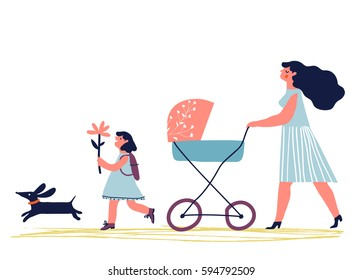 Mother with baby in stroller. Young mother with baby carriage walking with dog and child. Creative vector illustration.
