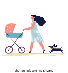 Mother with baby in stroller. Young mother with baby carriage walking with dog. Creative vector illustration.
