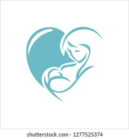 mother and baby stylized vector symbol, mom hugs her child logo template - Vector