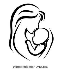 mother and baby symbol, hand drawn silhouette