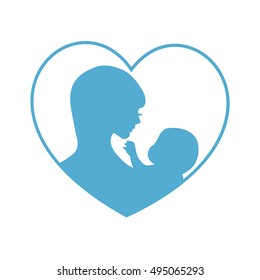 Mother and baby symbol. Illustration of woman holding baby. Concept of maternity, love and care.