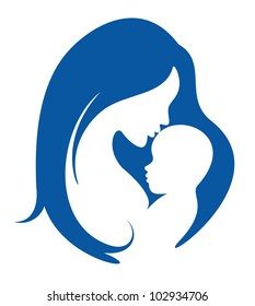 mother and baby vector silhouette