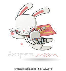 mother with baby, for your design Mother's day greeting card, cartoon character, Super Mom hero, color vector illustration