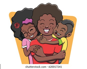Mother Being Hugged by her Children - Family. Vector file contains gradient and transparency effects. Outline and color separated in different layers for easier editing.