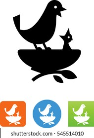 Mother Bird And Baby Bird In Nest Icon
