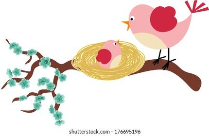 Mother bird and her birdie