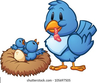 Mother blue bird feeding babies in a nest. Vector illustration with simple gradients. Mother and nest on separate layers for easy editing.