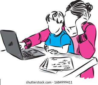 MOTHER WITH BOY WORKING FROM HOME VECTOR ILLUSTRATION