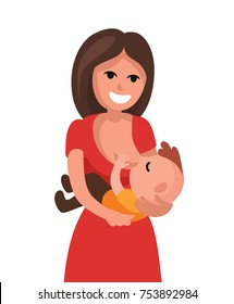 Mother breastfeeding baby child holding. Vector flat