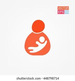 Mother breastfeeding her baby stylized symbol