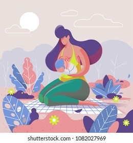 mother breastfeeding her child in the park illustration