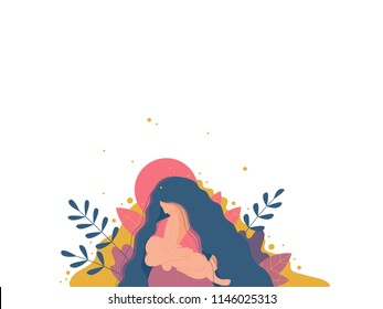 Mother breastfeeding her newborn baby. Flat design illustration of breastfeeding concept.