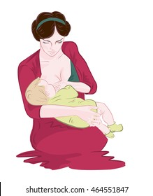 Mother breastfeeding her newborn baby child sitting in comfortable naturally cradle position supporting his bottom by hand