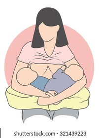 A mother Breastfeeding Her Twins: Front Cross