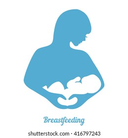 Mother breastfeeding symbol. Illustration of woman feeding baby. Concept of maternity, love and care.