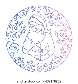 Mother breastfeeding.Nursing mother and baby in a round frame of curls and hearts. Concept of motherhood.Doodle style .World Breastfeeding Week illustration.Vector illustration