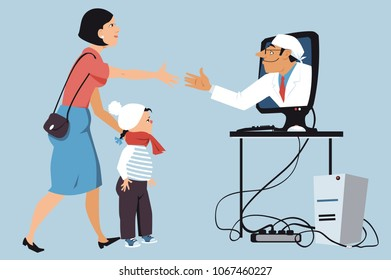 Mother bringing a sick little girl to a virtual visit with a pediatrician, shaking hands with a doctor,  coming out of a computer screen, EPS 8 vector illustration