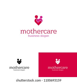 Mother Care Child Care People Family Vector Heart Logo