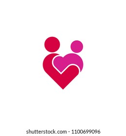 Mother care Love Child Care Heart Logo Icon.