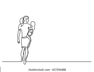 mother carrying her baby - single line drawing